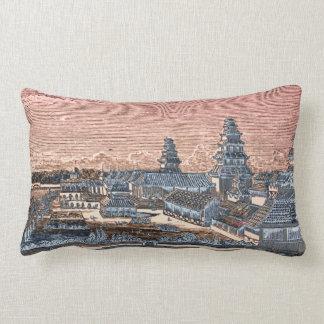 Grabado complejo del palacio del castillo de Edo T Almohada