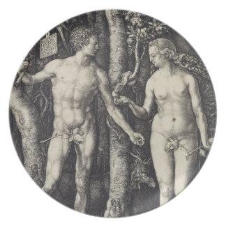 Grabado de Adán y de Eva de Albrecht Durer Plato
