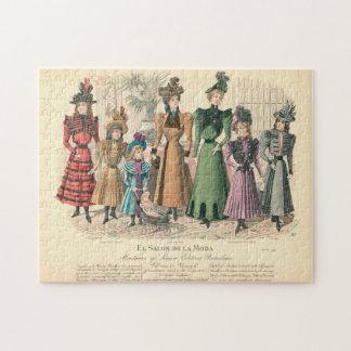 Grabado de la moda de las señoras - El Salon De La Rompecabeza Con Fotos