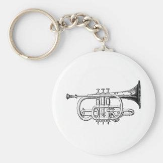 Grabado de madera de la trompeta del vintage llavero personalizado