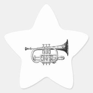 Grabado de madera de la trompeta del vintage pegatinas forma de estrella