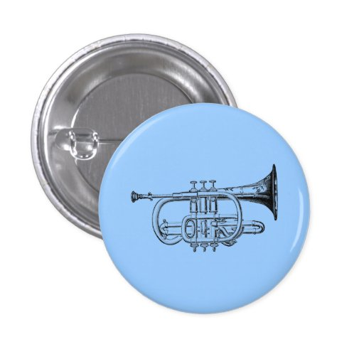 Grabado de madera de la trompeta del vintage pin