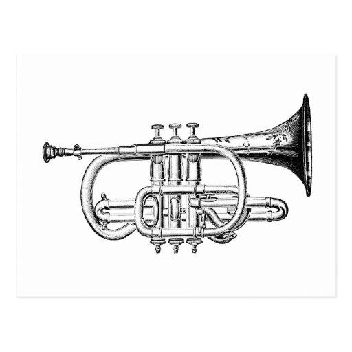 Grabado de madera de la trompeta del vintage tarjetas postales
