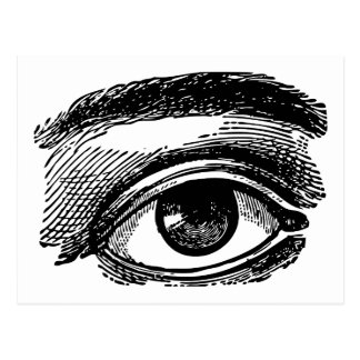 Grabado de madera del ojo grande del vintage postales