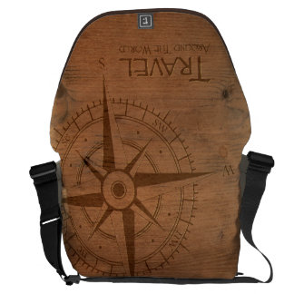 Grabado de madera del viaje en todo el mundo bolsa de mensajería