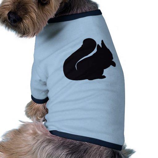 Grabado de madera del vintage de la ardilla camiseta con mangas para perro