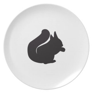 Grabado de madera del vintage de la ardilla platos