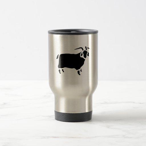 Grabado de madera del vintage de la cabra taza