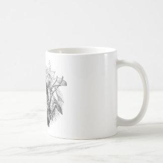 Grabado de madera del vintage del árbol de los búh taza de café