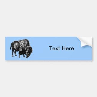 Grabado de madera del vintage del bisonte american pegatina de parachoque