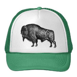 Grabado de madera del vintage del bisonte american gorras de camionero