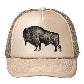 Grabado de madera del vintage del bisonte american gorro