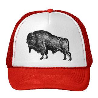 Grabado de madera del vintage del bisonte american gorro de camionero