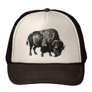Grabado de madera del vintage del bisonte american gorros