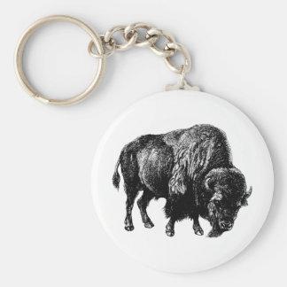 Grabado de madera del vintage del bisonte american llavero redondo tipo pin