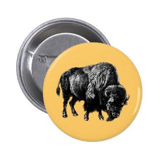 Grabado de madera del vintage del bisonte american pin