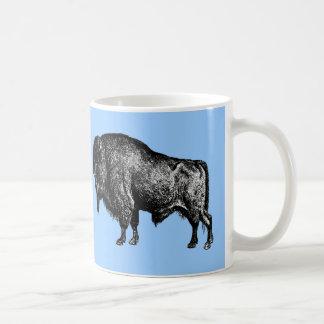 Grabado de madera del vintage del bisonte american tazas de café