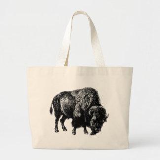 Grabado de madera del vintage del bisonte bolsa tela grande