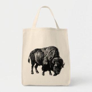 Grabado de madera del vintage del bisonte bolsa tela para la compra