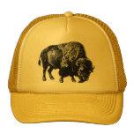 Grabado de madera del vintage del bisonte gorros