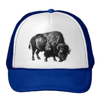 Grabado de madera del vintage del bisonte gorros bordados