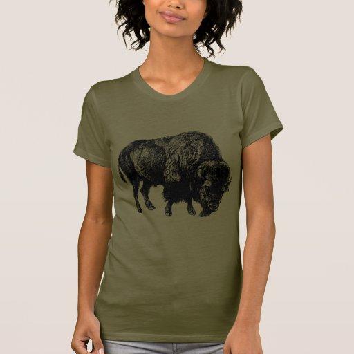 Grabado de madera del vintage del bisonte camisetas