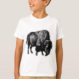Grabado de madera del vintage del bisonte playera