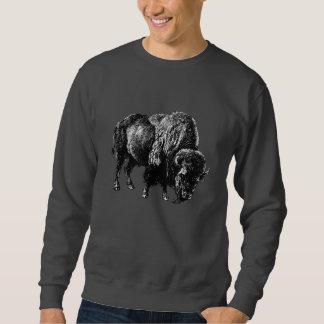 Grabado de madera del vintage del bisonte sudadera
