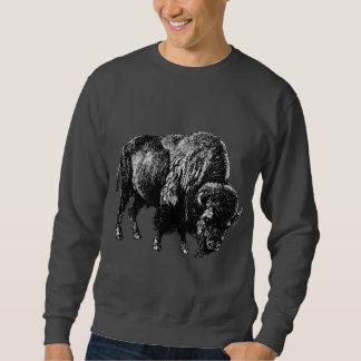Grabado de madera del vintage del bisonte suéter