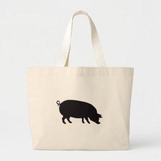 Grabado de madera del vintage del cerdo bolsa de mano