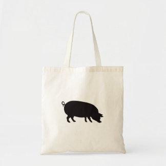 Grabado de madera del vintage del cerdo bolsas lienzo