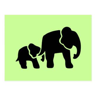 Grabado de madera del vintage del elefante tarjetas postales