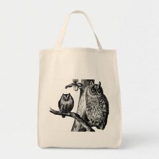 Grabado de madera del vintage del pájaro de los bolsa tela para la compra