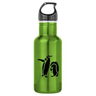 Grabado de madera del vintage del pingüino botella de agua