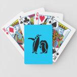 Grabado de madera del vintage del pingüino baraja de cartas