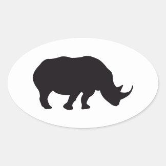 Grabado de madera del vintage del rinoceronte colcomanias óval personalizadas