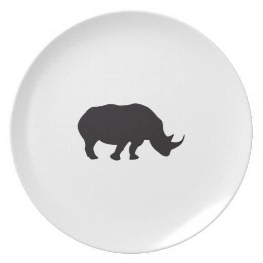 Grabado de madera del vintage del rinoceronte plato de cena