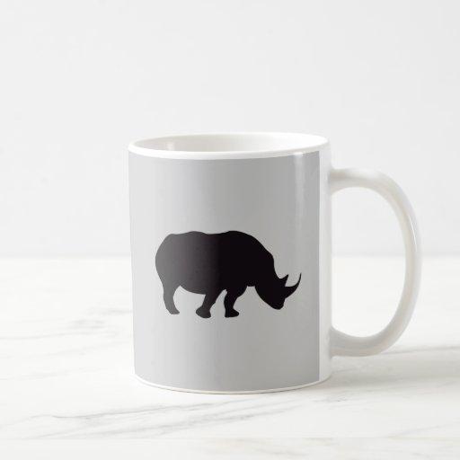 Grabado de madera del vintage del rinoceronte taza
