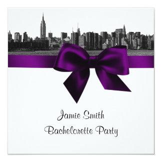 """Grabado de pistas ancho BW Bachelorette púrpura Invitación 5.25"""" X 5.25"""""""