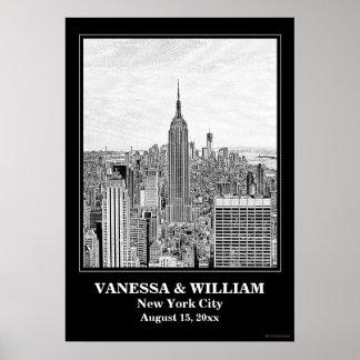 Grabado de pistas BW del ESB WTC del horizonte de Posters