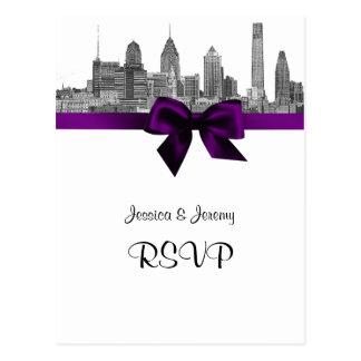 Grabado de pistas BW RSVP púrpura 1 del horizonte Tarjeta Postal