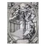 Grabado dedicatorio al dedo de Gottfried, 1688 Tarjeta Postal