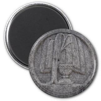 Grabado del cementerio de la urna y del sauce imán redondo 5 cm