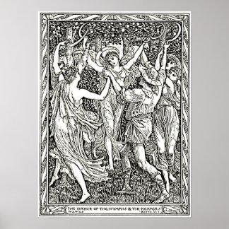 Grabado del ejemplo de la tempestad de Shakespeare Póster