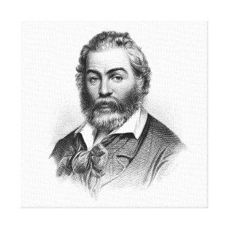 Grabado del grabar en madera de Walt Whitman antes Impresión En Lona