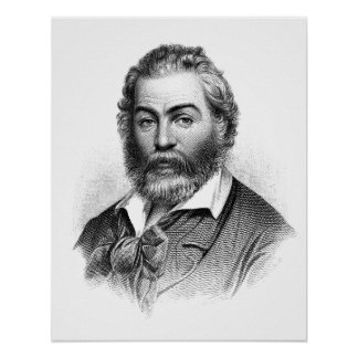 Grabado del grabar en madera de Walt Whitman antes Posters