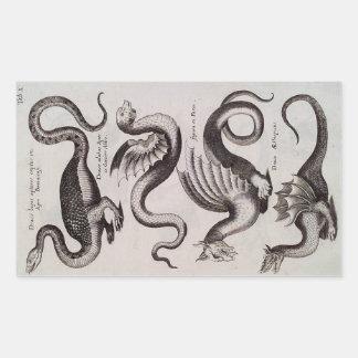 Grabado del siglo XVIII antiguo del dragón Rectangular Altavoces