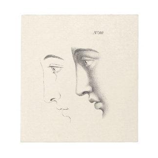 Grabado francés de la antigüedad del perfil del ho libreta para notas