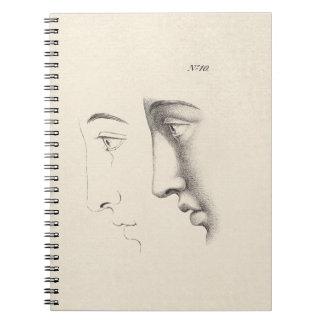 Grabado francés de la antigüedad del perfil del ho cuadernos