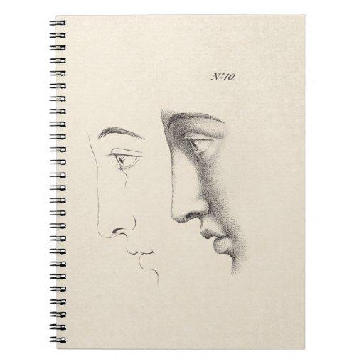 Grabado francés de la antigüedad del perfil del ho libreta